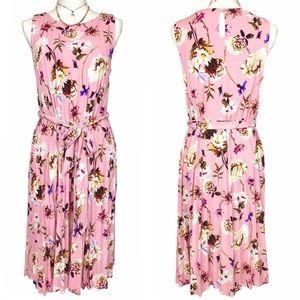 NWT Tahari pink floral sleeveless long dress small